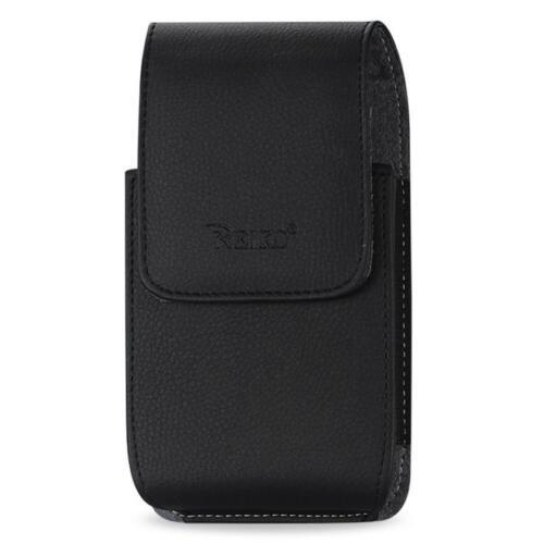 Black Leather Case Vertical fits Consumer Cellular Doro 7050