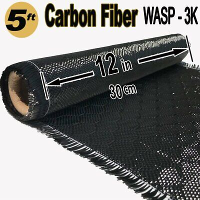 12 X 5 Ft - Wasp Carbon Fiber Fabric-3k Tow - 220gm2 - Wasp Bee Hive Weave