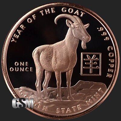 Lunar New Year - 2015 Year of the Goat -  1oz .999 BU copper (Lunar New Year Year Of The Goat)