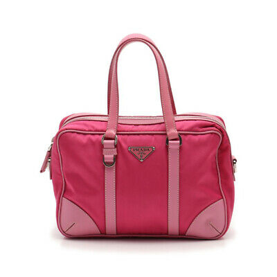 PRADA handbag nylon leather pink 2WAY