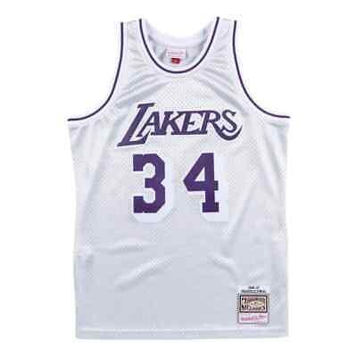 Mitchell Ness NBA Los Angeles Lakers #34 O'neal Platinum Silver Swingman Jersey