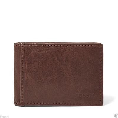 "Fossil ML3438 ""INGRAM"" Brown BiFold Money Clip Wallet ML3438200"