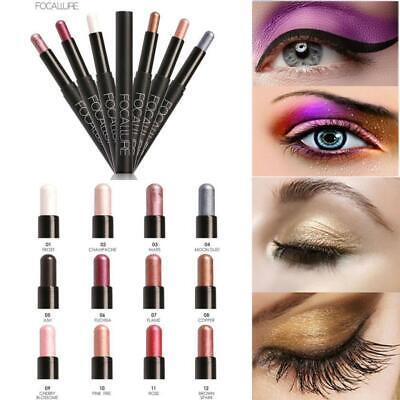 FOCALLURE Waterproof Eyeshadow Pencil Pen Makeup Eye shadow Eyeliner (Best Waterproof Eyeliner Pencil Uk)