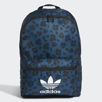Adidas Classic Trefoil Backpack Blue Floral Print Rucksack Work/School/Gym Bag
