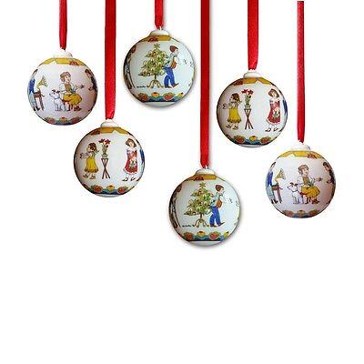 Hutschenreuther 6 x Kugel 2008 ''Tanzstunde'' WeihnachtsKugel PorzellanKugel NEU