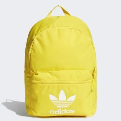 Adidas Yellow Classic Backpack Adicolor Rucksack White Trefoil /School/Gym Bag