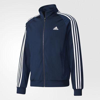 Adidas Men's Essentials 3 Stripe Track Tricot Jacket Navy, Grey