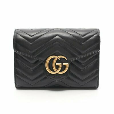 GUCCI GGMARMONT chain wallet leather black quilted vintage Metallic parts
