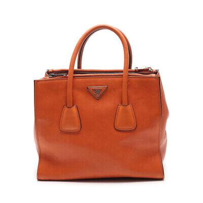 PRADA GLACE'CALF handbag leather orange 2WAY
