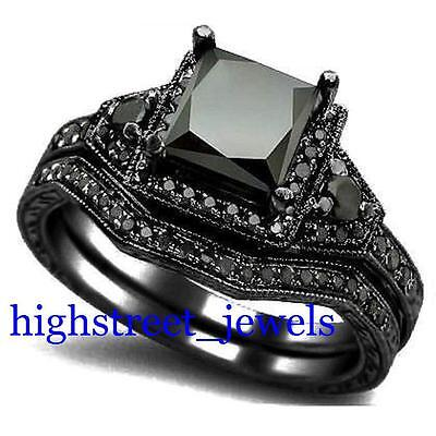 2 33 Ct Black Diamond Bridal Set 925 Silver Engagement Ring Free Shipping