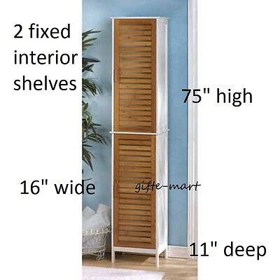 white Wood Bamboo shutter TALL linen medicine Cabinet bathroom organizer storage