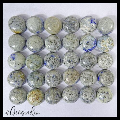 30 Pcs Natural Grey Blue Lapis Lazuli Round Cabochon 11-12mm Untreated Gems Lot