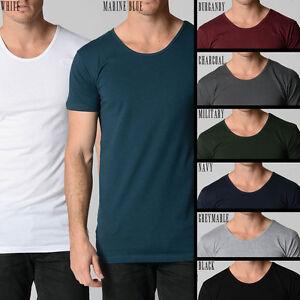 Men 39 s fashion deep scoop neck tee t shirt loose fit big for Deep scoop neck t shirt