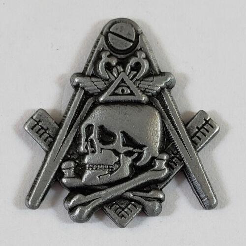 Masonic Square & Compasses w/ Skull Lapel Pin Mason (SCA) Freemason