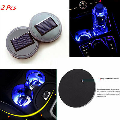 Universal 2X Car Solar Cup Holder Bottom Pad Blue Led Light Cover Mouldings Trim