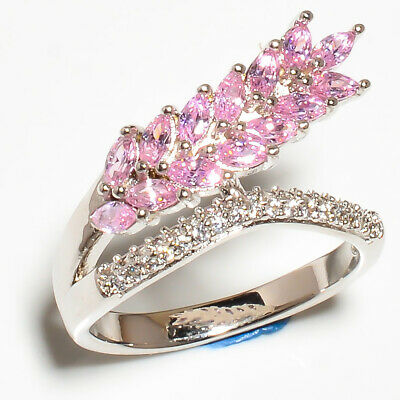 Pink Topaz, White Topaz 925 Sterling Silver Jewelry Ring S.6 R621-6-13 - $0.01