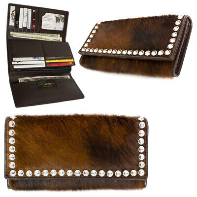 Raviani wallet hair on cowhide Leather Tri-Fold W/Clear Crystals