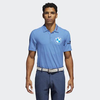 Mens Blue Golf Polo Pga Sponsor Logo Bmw  Rolex  Oracle  Uber