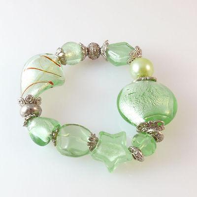 Damenarmband aus Glasperlen mit Silberfolie peridot Trachtenschmuck Armbänder