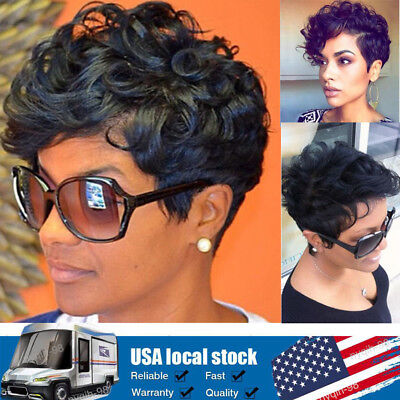 US Afro Curly Short Wig Black Brown Pixie Cut Synthetic Hair Full Wigs for women - Brown Afro