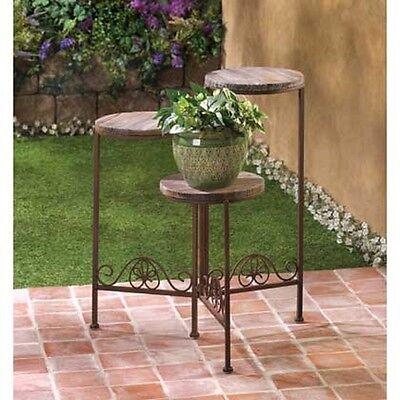 Bronze brown iron Metal Wood 3 tier ...