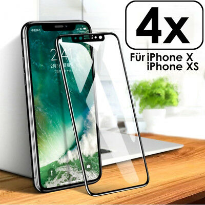 4x für iPhone X /Xs Panzer Glasfolie Curved Display Schutz Full Screen Echt Glas