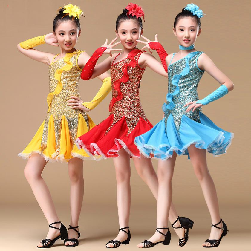 A00994# Kinder Mädchen Latein Tanz Pailletten Kostüm (Kleid, Ärmel) 3 Farben