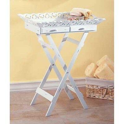 Distressed White Wood French cottage Shabby elegant FOLDING tray Table -