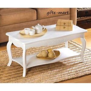 Distressed French Cottage Chic White Shabby Wood Sofa Small Coffee Table U0026  Shelf