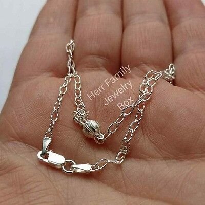Pure Italian Sterling Silver Rolo Chain Link Ball Bead ANKLET Ankle Bracelet