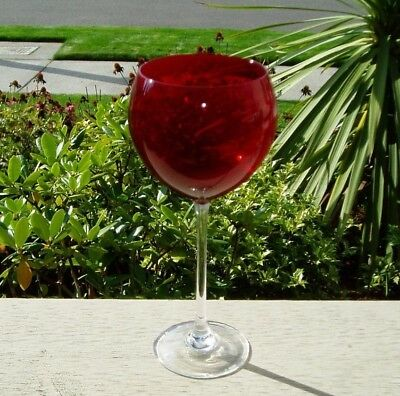 Lenox Red Balloon Bowl Wine Glass with Clear Stem ~ I do not know pattern name.