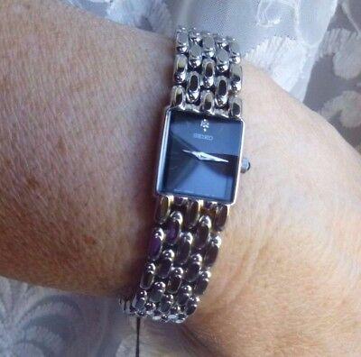 Ladies NEW Seiko Stainless Steel Black Dial One Diamond SYL795 MSRV $270