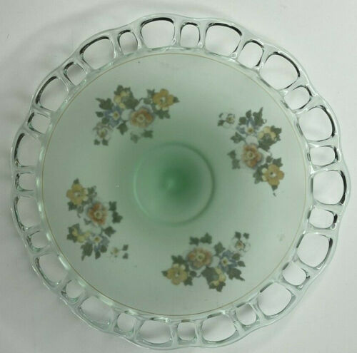 Hocking Depression Glass Green Frosted LACE EDGE, akaOld Colony Cake Plate Stand