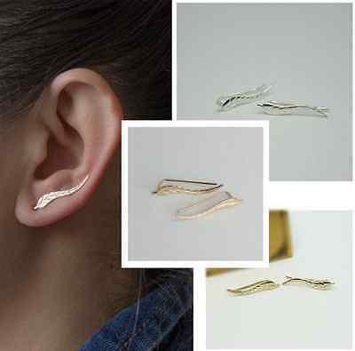 Silver Ear Climber Earrings Set Cuffs Pins Leaf Ear Lobe Crawler New US