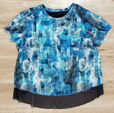 "Lululemon Womens Shirt Size ""8-10"" Quick Pace Short Sleeve Sun Dazed Multi Blue"
