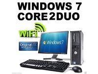 """17"""" Monitor Dell OptiPlex Dual Core DVD WiFi Windows 7 Desktop PC Computer"""