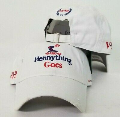 Hennything Goes Logo Field Grade White Distressed DAD Hat Snapback Strapback ](Grad Hat)