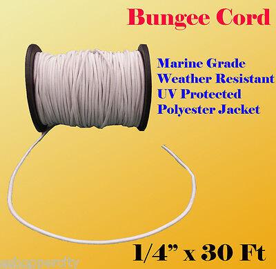 "1/4"" x 30 Ft (10 Yard) Premium Marine Grade Bungee Shock Stretch Cord UV White"