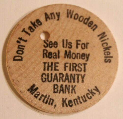 Vintage First Guaranty Bank Wooden Nickel Martin Kentucky