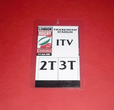 2005 LONDON RUGBY 7s JUNE @ TWICKENHAM OFFICIAL MEDIA PASS TICKET