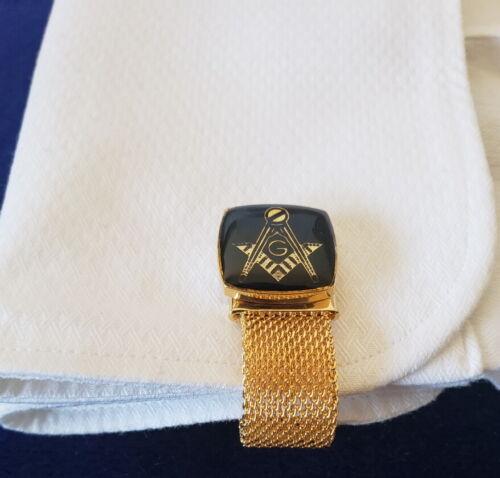 2019 Freemasonry Masonic Black Cufflinks with Gold Chain Strap NEW !!!