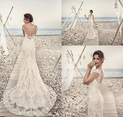 Wedding Dress Cap - 2018 Eddy K Aires Mermaid Wedding Dress Applique Lace Beach Cap Sleeve Custom