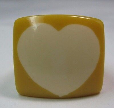 Vintage Big Chunky Butterscotch Yellow Lucite Square Heart Ring Size 8.25