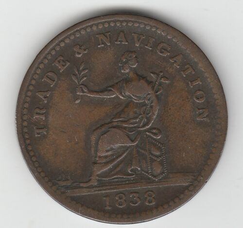 Guyana British Guiana Copper 1838 One Stiver Token Trade & Navigation KM# Tn1