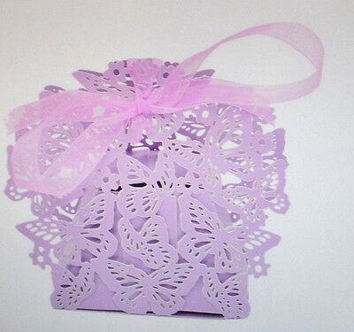 10 Geschenke Box Schmetterling für Gastgeschenke Fb Flieder Hochzeit Party