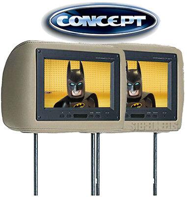 "2 Concept THS900T 9"" TFT LCD Universal Car Headrest Monitors IR Tan Beige Pair"
