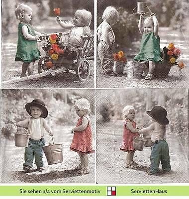 Nostalgie Kleine Kinder - 4 Servietten