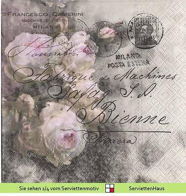Altrosa Rosen auf grau mit Postkarte - 4 Servietten
