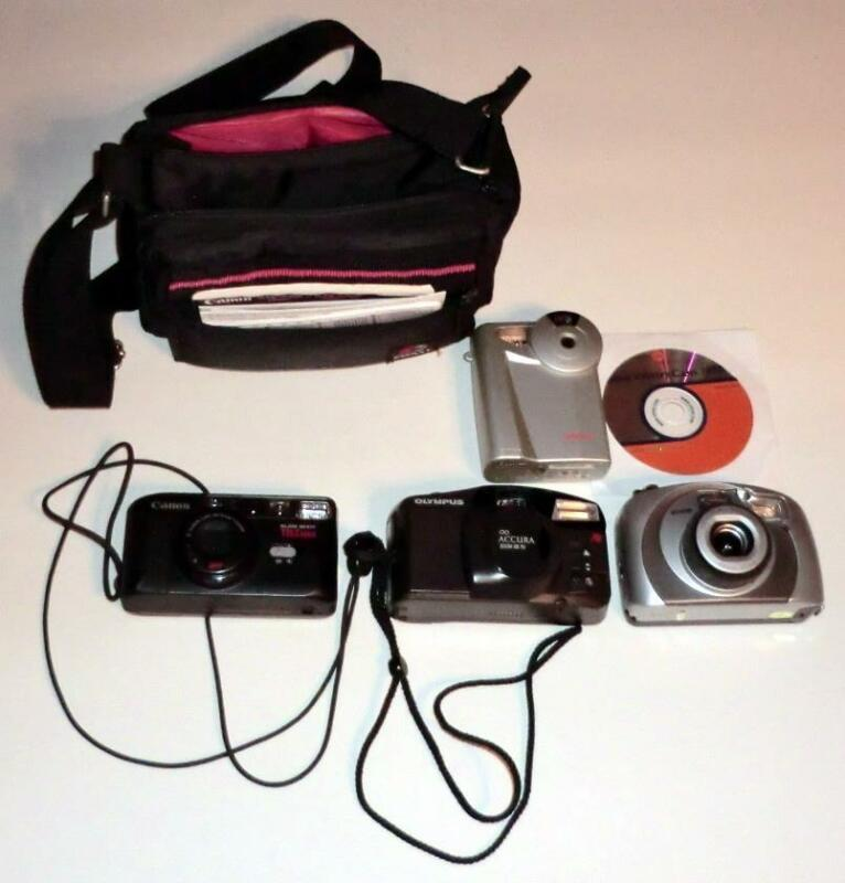 (4) Older Cameras (Film: Canon/Olympus/Argus, 1 Digital)+Coast Case FREE SHIP