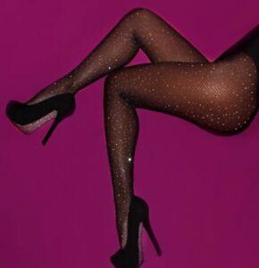 UK fast post diamante sparkle crystal black fishnet tights fishnets diamonds
